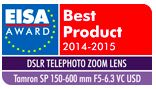Tamron's 150-600 lens won the prestigious European Imaging and Sound Association (EISA) award for best DSLR Telephoto Lens in 2014-2015. EISA is an association of 50 special interest magazines from 20 countries. That's a pretty wide base of support. Congratulations Tamron!