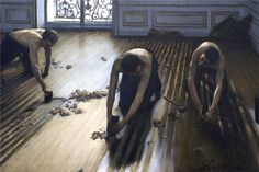 The Parquet Planers, 1875, oil on canvas, 102 x 146 cm. Musée d'Orsay, Paris, France. Early works. Gustave Caillebotte (1848-1894).  Artist: Gustave Caillebotte  Completion Date:   Style: Impressionism  Genre: genre painting  Technique:   Dimensions:   Gallery: