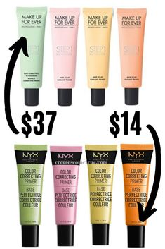 The Best Drugstore Primers For Color Correction - Dullness, Redness.There's a primer for that. Smooth lines and pores PLUS correct your color issues with one of these amazing drugstore primers. Best Drugstore Primer, Drugstore Makeup Dupes, Makeup Primer, Makeup Tips, Drugstore Foundation, Makeup Brushes, Makeup Ideas, Color Correcting Guide, Color Correcting Concealer