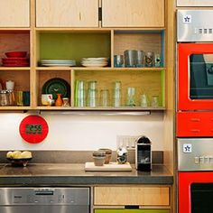 Colorful open shelving in the kitchen