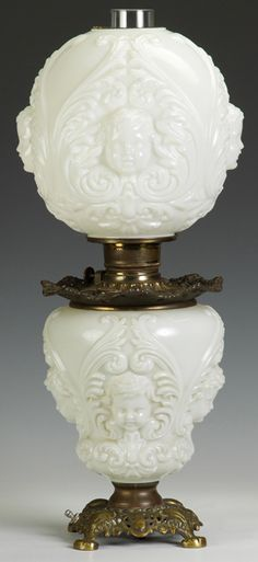 Victorian Gone with the Wind parlor Lamp, blown out  cherub design on milk glass base & shade. Electrified, AMERICA, CIRCA 1850-1900