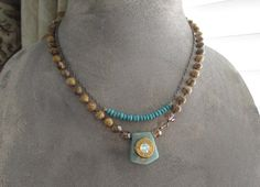 Knotted bullet necklace - Shotgun / Tan - natural earthy tan necklace opal Swarovski crystal eco chic boho by slashKnots slash knots