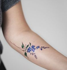 Larkspur for the month of July. What's your birth flower? Larkspur Flower Tattoos, Birth Flower Tattoos, Blue Flower Tattoos, Black Tattoos, Small Tattoos, Cool Tattoos, Wrist Tattoos, Body Art Tattoos, Delphinium Tattoo