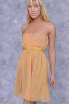 Stone Flowered Silky Strapless Dress - Clothes | Maria Morena Wholesale