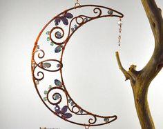 Super sparkly gemstone Suncatcher Crescent Moon wire art Swarovski window hanging Lunar phase decoration patio garden decor