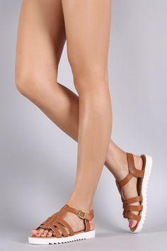 Bamboo Strappy Lug Sole Flat Sandal