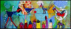 Elke Trittel acrylic/collage on board 20x50cm