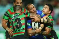 Jeremy Smith of the Knights is tackled during the round 12 NRL match between the South Sydney Rabbitohs and the Newcastle Knights at ANZ Stadium on June 1, 2013 in Sydney, Australia.