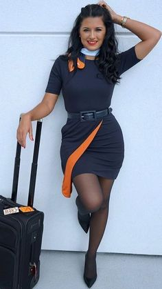 Beautiful Flight Attendant Stewardess on planes. Beautiful Flight Attendant Stewardess on planes… Black Pantyhose, Nylons, Black Tights, Flight Girls, Girls Uniforms, Black Stockings, Models, Sexy Legs, Female