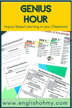 Have you implemented Genius Hour into your classroom, or are you looking for a guide for Inquiry-Based Learning? These genius hour project ideas will help you get started with the project, and help your middle school students and elementary students understand the process.  Genius Hour Middle School  Genius Hour Ideas  Middle School Activities