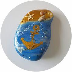 """Stein """"love anchors the soul"""" Pebble Art - Anker - Beachdekor - Geschenk - Geburtstag - Hochzeit - Deko von StoneArt2015 auf Etsy"""