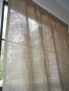 "Burlap Curtain Panel with Jute Tieback, 38""w X 30""L, 'The BEACHCOMBER  PANEL' by Jackie Dix on Etsy, $15.00"