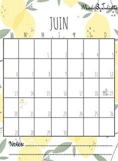 - JUIN 2016 - Imprimes le calendrier pour customiser ton agenda. A voir: vidéo sur ma chaîne!