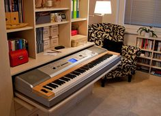 Great idea if you have a small place! Tuck your keyboard out of sight.
