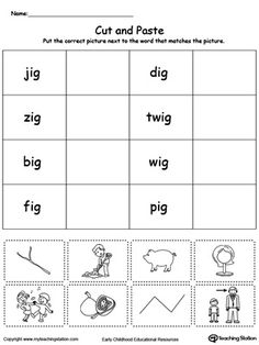 best at word family images  sight words literacy activities  free ig word family workbook for kindergarten worksheet topics reading