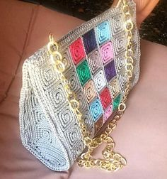 Handmade Crocheted Multi Color Women Shoulder Bag 5 mm Plastic