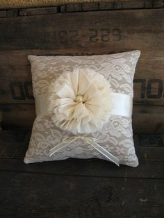 Flower Girl Basket Ring Bearer Pillow by TheShabbyChicWedding