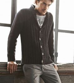 #Dockers Men Chunky Knit Shawl Collar Navy Cardigan Sweater