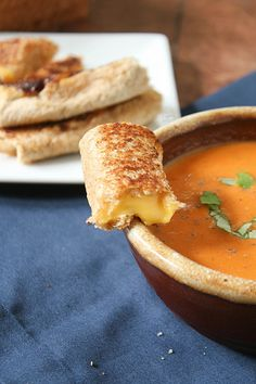 Recipe for Grilled Cheese Rolls and Creamy Tomato Soup