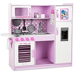 """KidKraft Ultimate Corner Play Kitchen - Melissa & Doug Wooden Chef's Pretend Play Toy Kitchen with """"Ice"""" Cube Dispenser – Cupcake Pink/White >>> Continuously the product at the image link. Pretend Play Kitchen, Play Kitchen Sets, Play Kitchens, Pretend Food, White Kitchens, Play Food, Wooden Play Kitchen, Toy Kitchen, Chef Kitchen"""