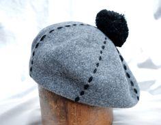 Grey Wool Beret / Oversized French Style Baret / French