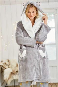 Buy Grey Fox Novelty Robe from the Next UK online shop Cute Sleepwear, Sleepwear & Loungewear, Lingerie Sleepwear, Nightwear, Pijamas Women, Babydoll, Beautiful Dresses For Women, Peignoir, Pyjamas
