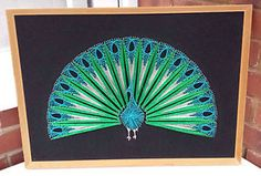 STUNNING Vintage Retro String & Nail Picture Wall Art Peacock Mid Century Framed | eBay