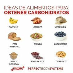 Alimentos para obtener carbohidratos.