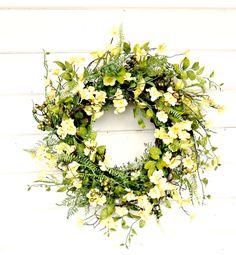 Summer Wreath-YELLOW CLOVER BLOSSOM by WildRidgeDesign on Etsy