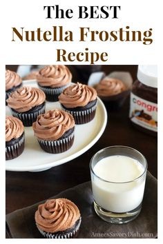 Nutella frosting is a splurge-worthy indulgent buttercream frosting. This decadent frosting is perfect for topping cakes, cupcakes, or even cookies! Nutella Cupcakes, Nutella Frosting, Cupcake Recipes, Cupcake Cakes, Snack Recipes, Dessert Recipes, Köstliche Desserts, Delicious Desserts, Homemade Chocolate