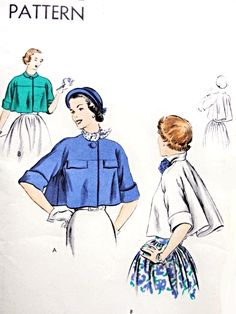 1950s GORGEOUS Short Jacket Pattern Easy To Make VOGUE 6716 Lovely Flared Back Day or Evening Vintage Sewing Pattern FACTORY FOLDED