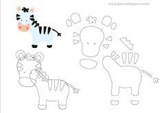 Moldes de bichinhos Safári para bordados e decorações feitos em Feltro, EVA ou papel Color Set!     Oi Bom dia!!!!! Primeiramente Feliz dia...