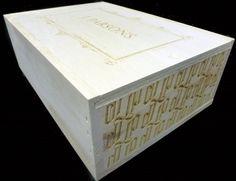 J. Parsons custom flat slide-top wine crate branded on multiple sides