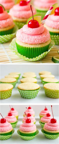 Cherry Limeade Cupcakes - these cupcakes are delicious and so fun for summer!! #cupcakes #cupcakeideas #cupcakerecipes #food #yummy #sweet #delicious #cupcake
