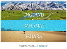 Meet the world in Greece ~ Alps England Bahamas Sahara ~ Oh The Places You'll Go, Places To Visit, Travel Around The World, Around The Worlds, Greek Beauty, Bahamas Vacation, Paradise On Earth, Thessaloniki, Heaven On Earth