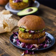 A hearty, healthy veggie burger made with red lentils, chickpeas, and millet. Vegan, gluten free, and packed with protein.