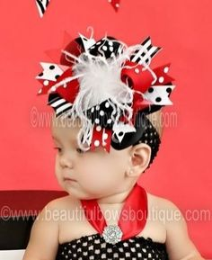 Black & Red Polka Over The Top Girls Hair Bow or Baby Girls Headband