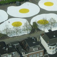 Dutch artist Henk Hofstra  - environmental art project called 'Art Eggcident' in Leeuwarden, a city in the north of the Netherlands.  Several large eggs (each 100 feet wide) were spread on th Zaailand, one of the largest city 'months (2008).