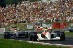 f1 1991 -  Ayrton ‎Senna‬ in the ‎McLaren‬-Honda and Nigel ‎Mansell‬ in the Williams‬-Renault