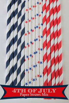 4th of July Mix Paper Straws #2 #4th of july #red  #white #blue