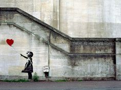 Banksy's Street Art Around the World : There Is Always Hope Near the National Theatre, London