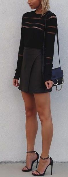 #summer #cool #outfits   Knits + Leather