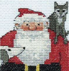 DMC Raymond Briggs Father Christmas with his Cat and Dog Mini Cross Stitch Kit - £3.49 - A great range of Card Cross Stitch Kits from Kards ...