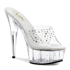 6 Inch Clear Rhinestone Stripper Slides Sexy Platform Sandals Sexy Shoes *** You can get additional details at the image link.