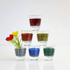 Mid Century Modern Houndstooth Shot Glasses from France
