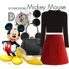 Mickey Mouse by leslieakay on Polyvore featuring Chicwish, Marc Fisher LTD, Disney, Thomas Sabo, disney, disneybound, mickeymouse and disneycharacter