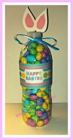 DIY- Easter Bunny Bottle Candy Holder. Easy craft to make for a basket stuffer or Easter favor!