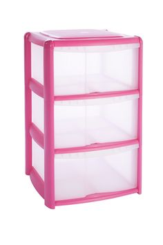 B&Q Pink Plastic 3 Drawer Tower Unit | Rooms | DIY at B&Q