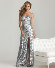 Silver Sequin Sweetheart Rhinestone Empire Waist Prom Dress - Unique Vintage - Prom dresses, retro dresses, retro swimsuits.