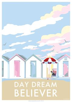 beach huts vintage style seaside poster, available at… Seaside Beach, Beach Art, Beach Huts Art, Seaside Art, Seaside Style, Coastal Style, Mouse Illustration, Beach Illustration, Vintage Beach Posters